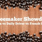"""A banner that reads """"Coffeemaker Showdown: Ninja vs Daily Driver vs French Press"""". The top and bottom of the banner are lined with coffee beans on a wood background."""