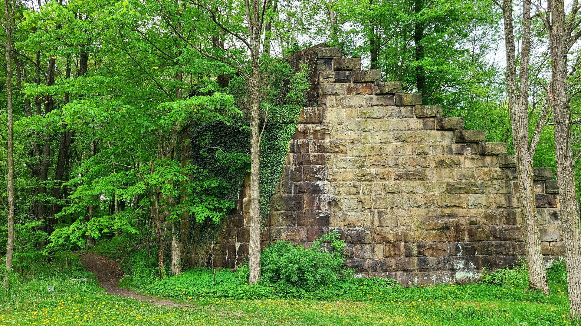 Stone bridge abutment covered in vines and trees.
