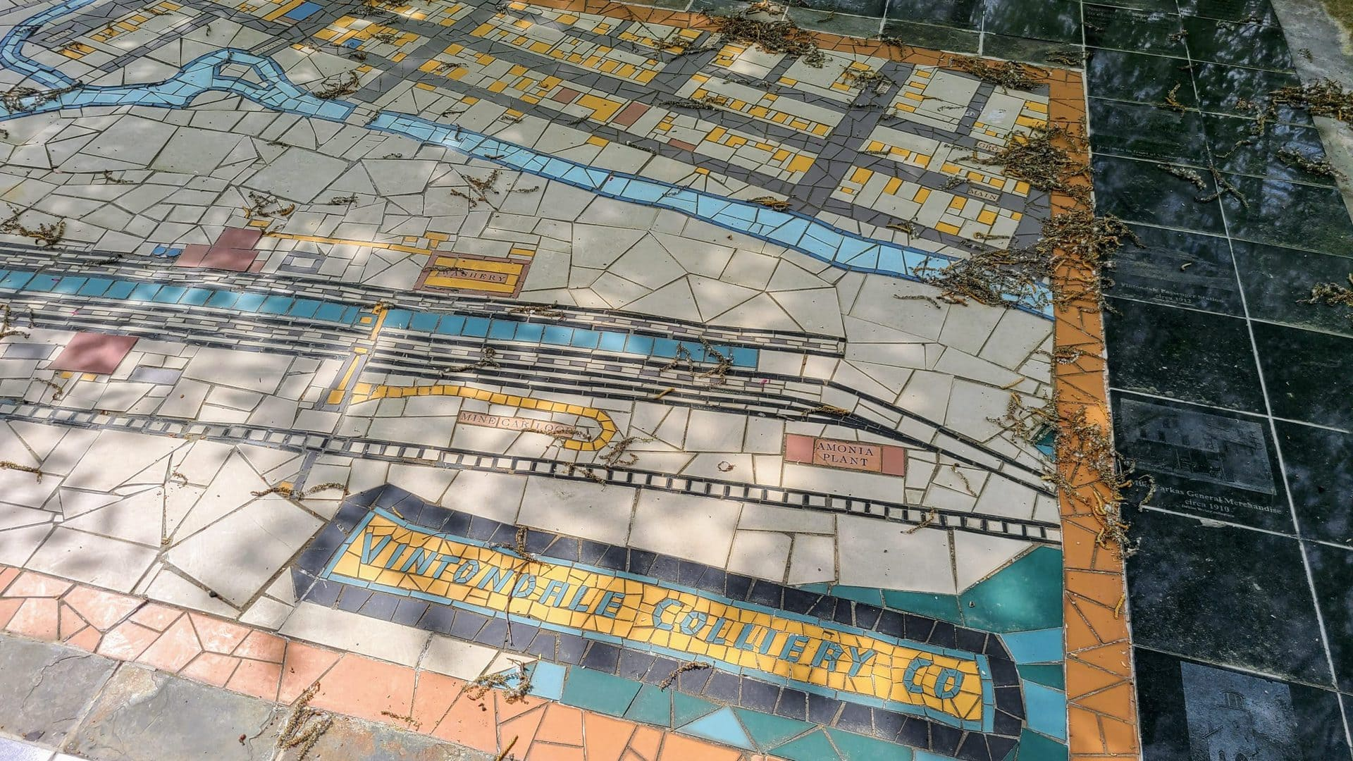 A tile mosaic map of the town of Vintondale