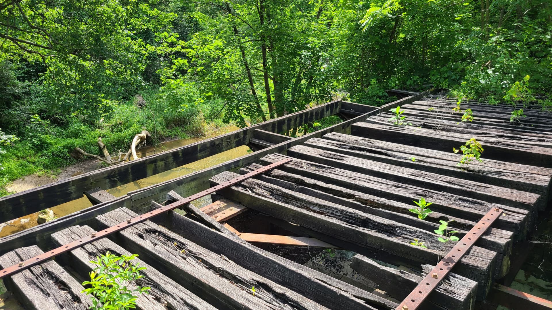 Rotting railroad ties sit on top of an old, disused rail bridge next to the trail