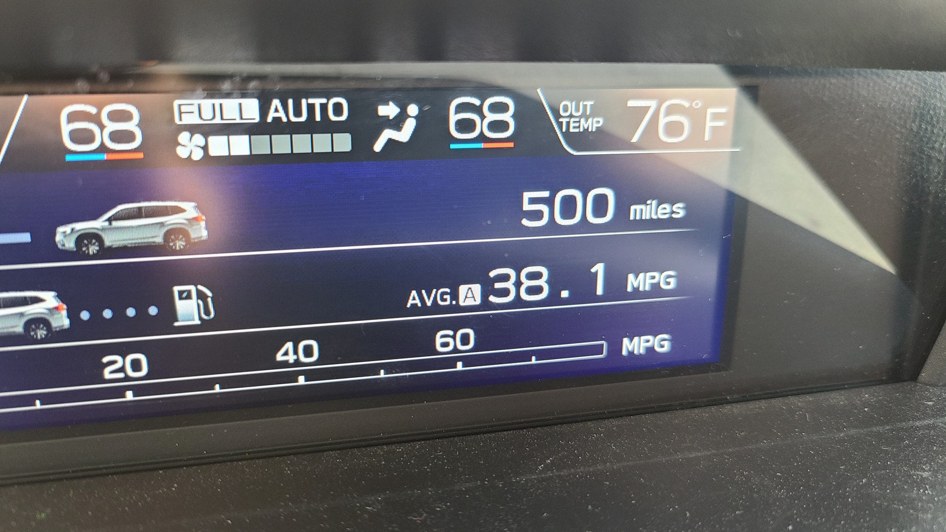 A display panel shows a car's fuel economy as 38.1 MPG.