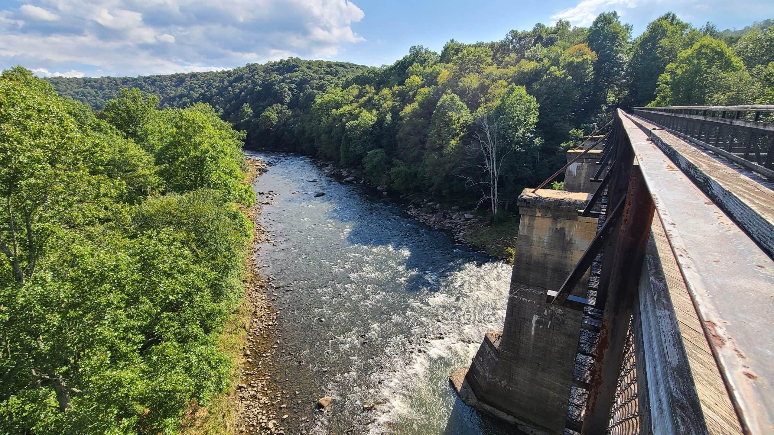 The Pinkerton high bridge sits on concrete piers high above the Casselman River.